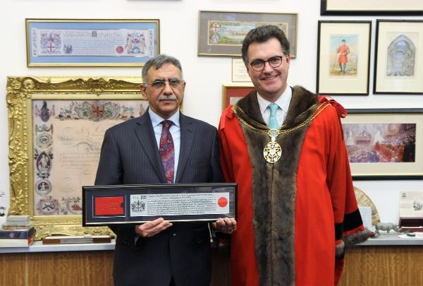 Mr Sanjiv Chadha, has been awarded the Freedom of the City of London